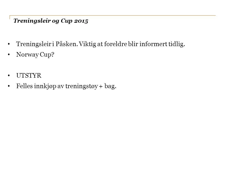 Treningsleir og Cup 2015 Treningsleir i Påsken. Viktig at foreldre blir informert tidlig.