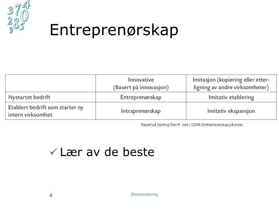 Entreprenørskap Lær av de beste Økonomistyring 4 Basert på Spilling Olav R.