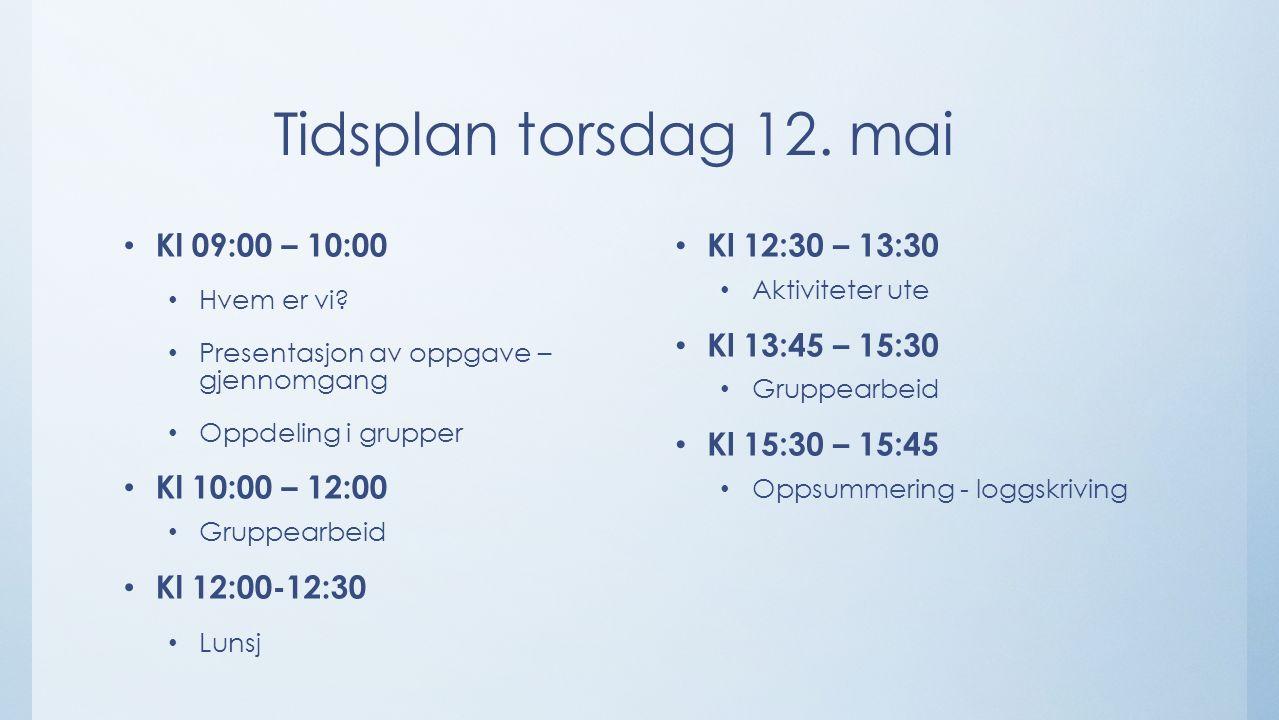 Tidsplan torsdag 12. mai Kl 09:00 – 10:00 Hvem er vi? Presentasjon av oppgave – gjennomgang Oppdeling i grupper Kl 10:00 – 12:00 Gruppearbeid Kl 12:00