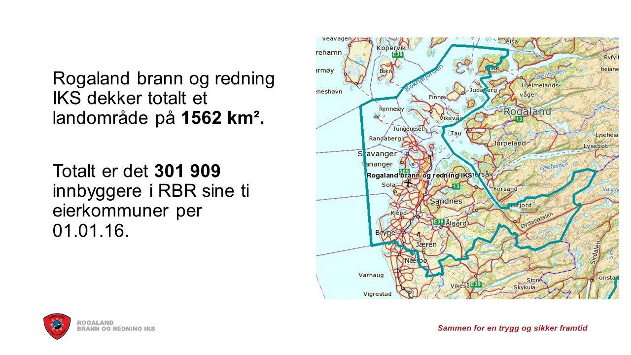 Rogaland brann og redning IKS dekker totalt et landområde på 1562 km².