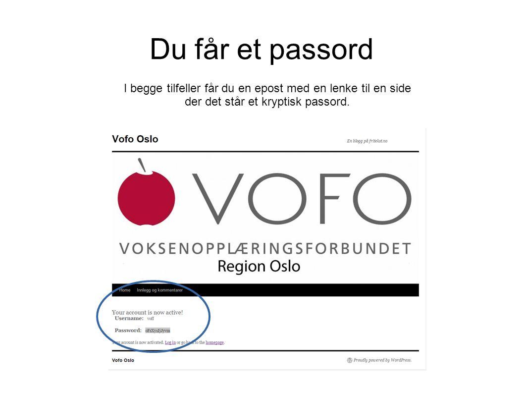 Videre...Nå kan du enten skrive ned passordet, eller merke det og kopiere det til utklippstavla.
