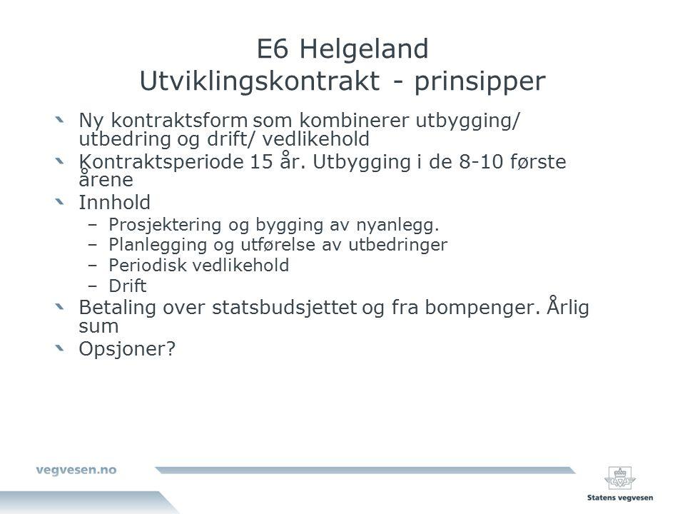 E6 Helgeland Utviklingskontrakt - prinsipper Ny kontraktsform som kombinerer utbygging/ utbedring og drift/ vedlikehold Kontraktsperiode 15 år.