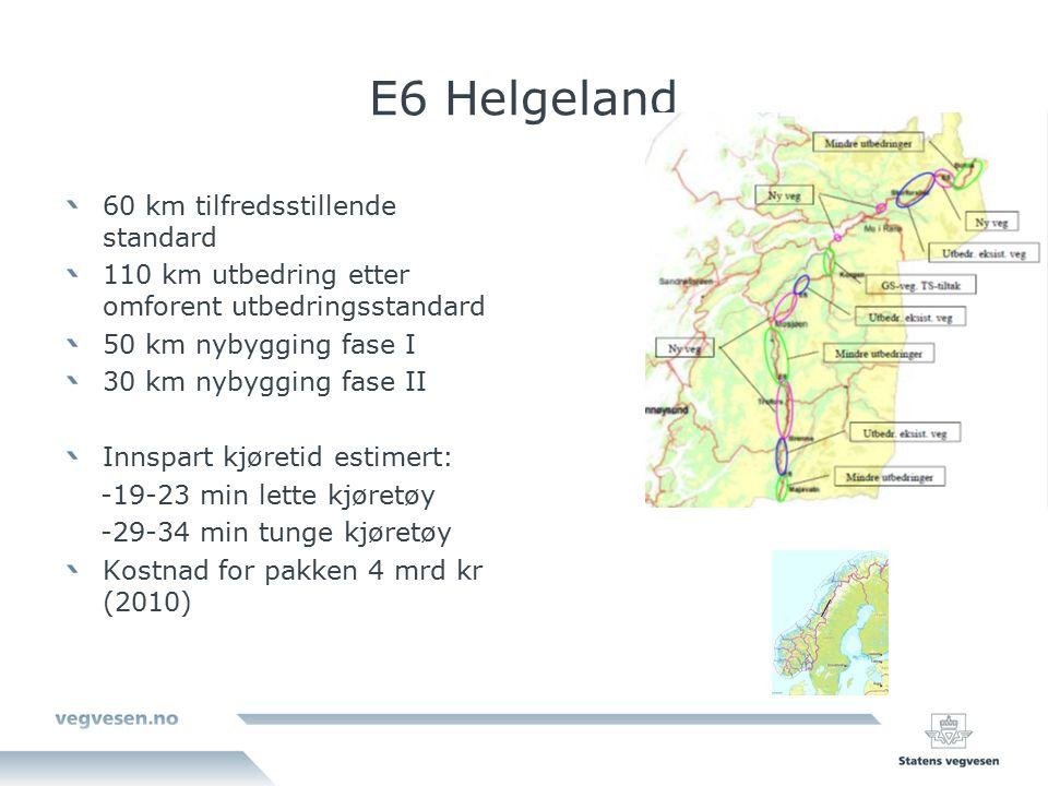 E6 Helgeland 60 km tilfredsstillende standard 110 km utbedring etter omforent utbedringsstandard 50 km nybygging fase I 30 km nybygging fase II Innspart kjøretid estimert: -19-23 min lette kjøretøy -29-34 min tunge kjøretøy Kostnad for pakken 4 mrd kr (2010)