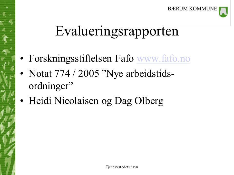 Tjenestestedets navn Evalueringsrapporten Forskningsstiftelsen Fafo www.fafo.nowww.fafo.no Notat 774 / 2005 Nye arbeidstids- ordninger Heidi Nicolaisen og Dag Olberg