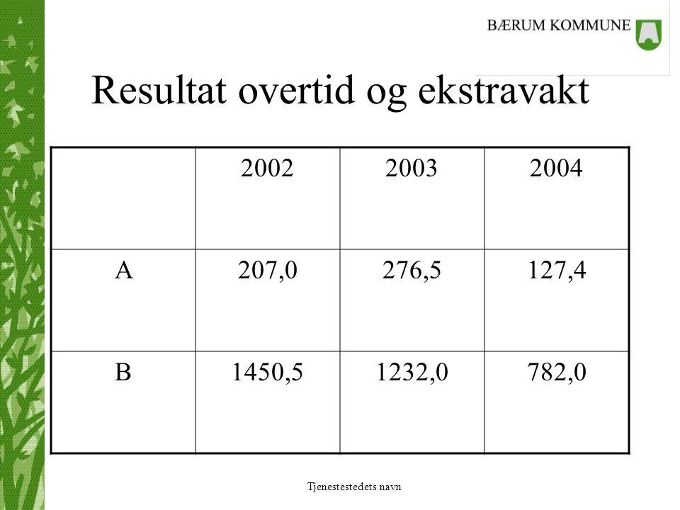 Tjenestestedets navn Resultat overtid og ekstravakt 200220032004 A207,0276,5127,4 B1450,51232,0782,0