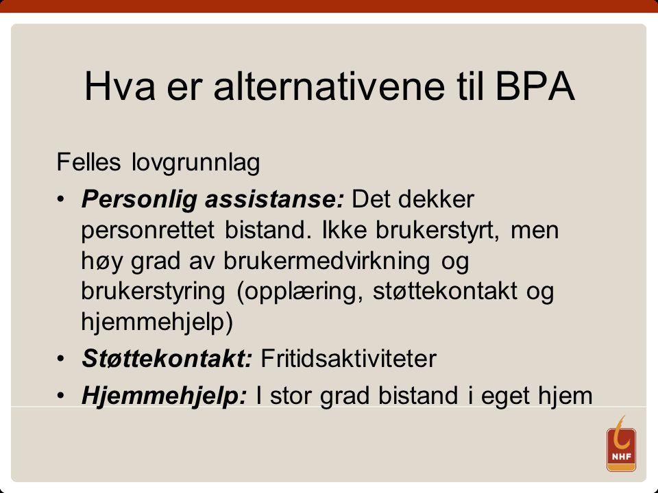 Hva er alternativene til BPA Felles lovgrunnlag Personlig assistanse: Det dekker personrettet bistand.