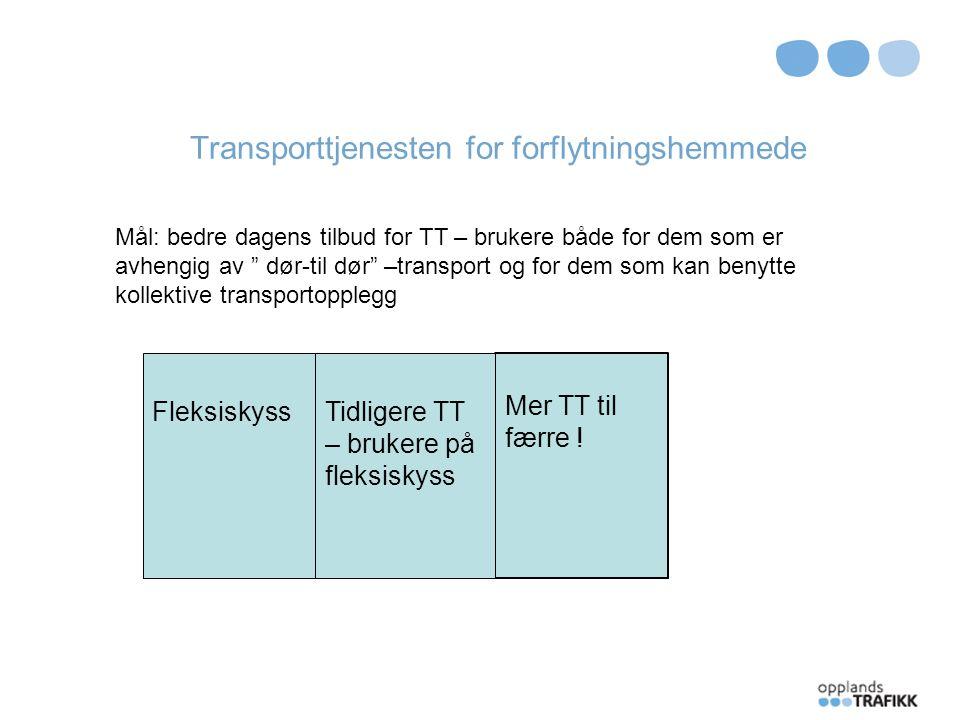 Transporttjenesten for forflytningshemmede Fleksiskyss Linjetrafikk TT – litt til mange Universell utforming