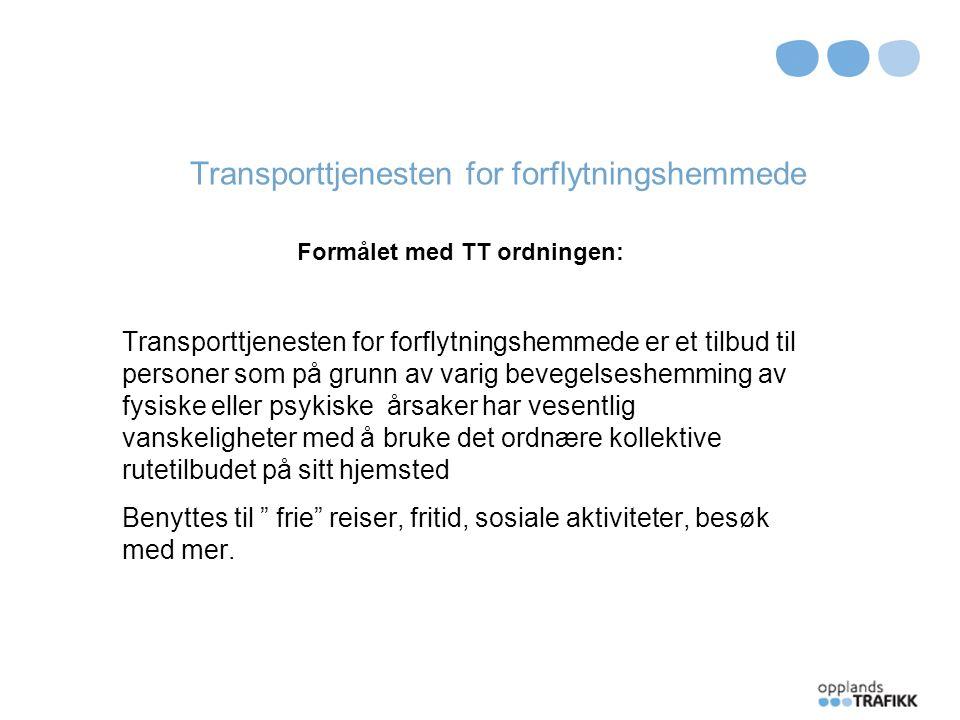 Transporttjenesten for forflytningshemmede Utfordringer: Stort behov for transport,- spesielt for eldre Begrenset økonomi Bedre samordning Flere eldre