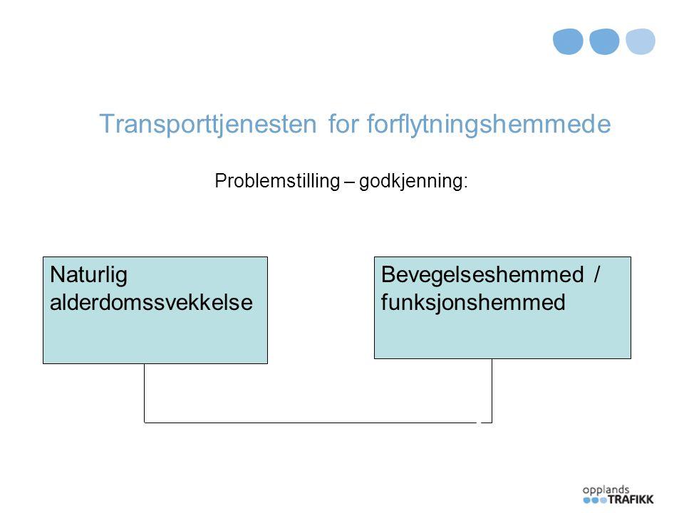Transporttjenesten for forflytningshemmede Brukergodkjenning: Må søkes om godkjenning.
