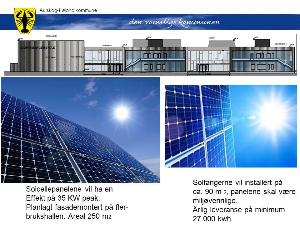 Solcellepanelene vil ha en Effekt på 35 KW peak. Planlagt fasademontert på fler- brukshallen.