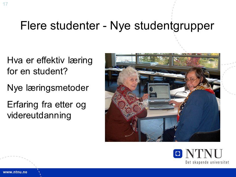 17 Flere studenter - Nye studentgrupper Hva er effektiv læring for en student.