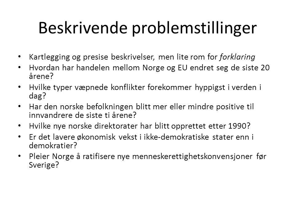 Beskrivende problemstillinger Kartlegging og presise beskrivelser, men lite rom for forklaring Hvordan har handelen mellom Norge og EU endret seg de siste 20 årene.