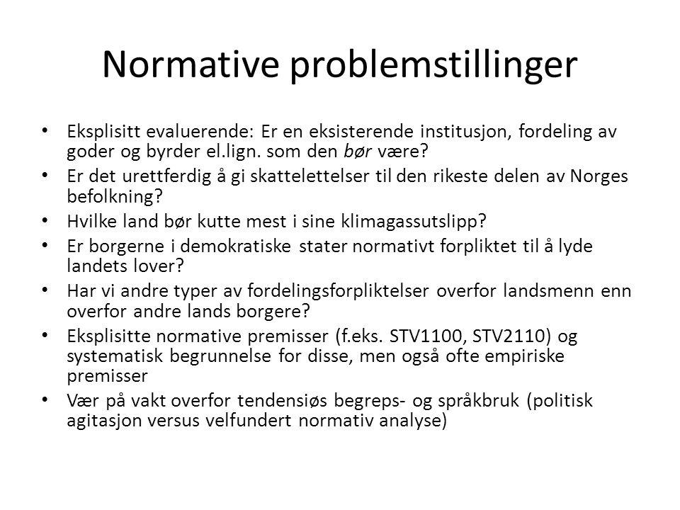 Normative problemstillinger Eksplisitt evaluerende: Er en eksisterende institusjon, fordeling av goder og byrder el.lign.