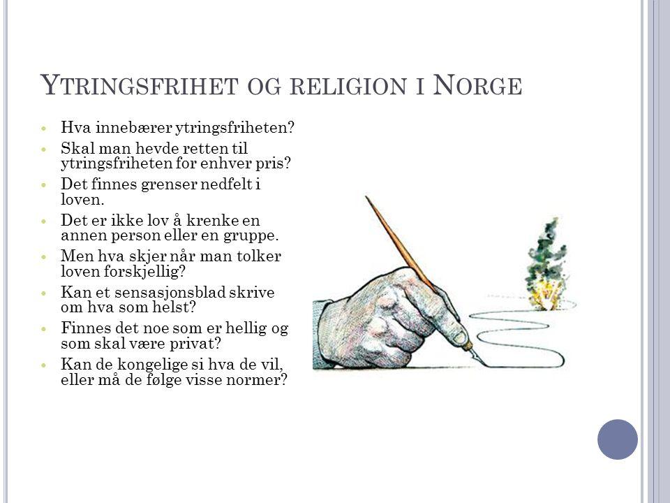 Y TRINGSFRIHET OG RELIGION I N ORGE Hva innebærer ytringsfriheten.