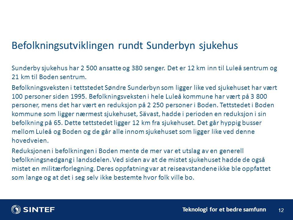 Teknologi for et bedre samfunn Sunderby sjukehus har 2 500 ansatte og 380 senger. Det er 12 km inn til Luleå sentrum og 21 km til Boden sentrum. Befol