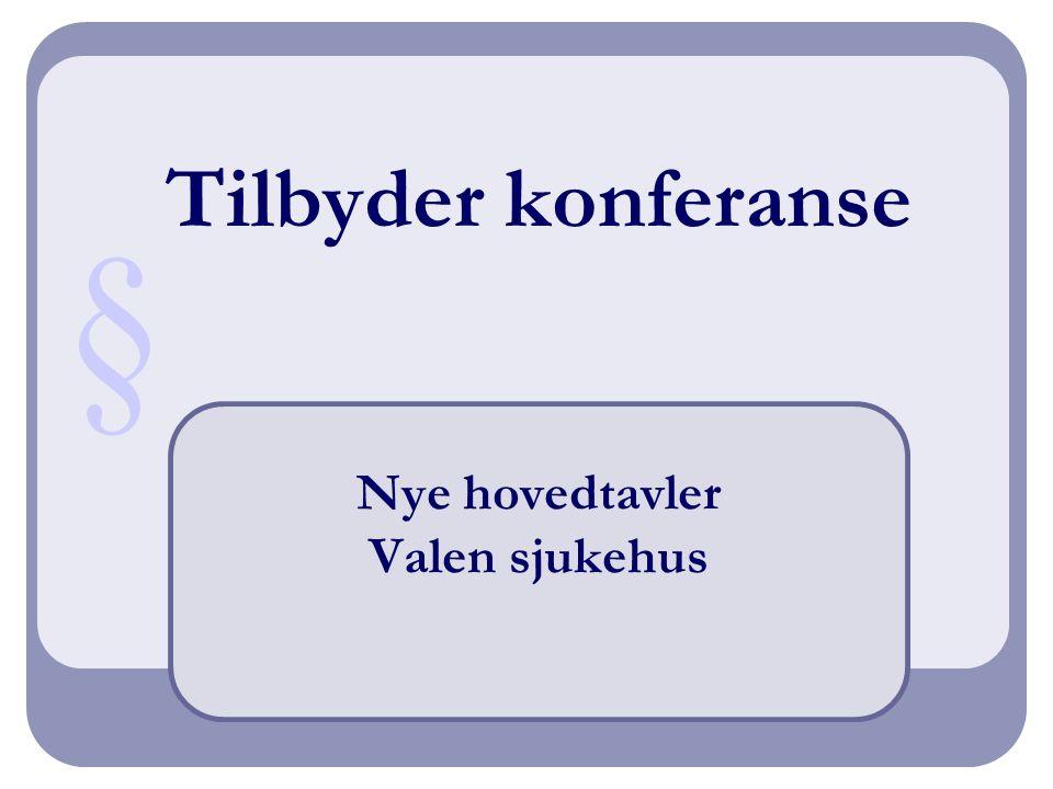 Tilbyder konferanse Nye hovedtavler Valen sjukehus §