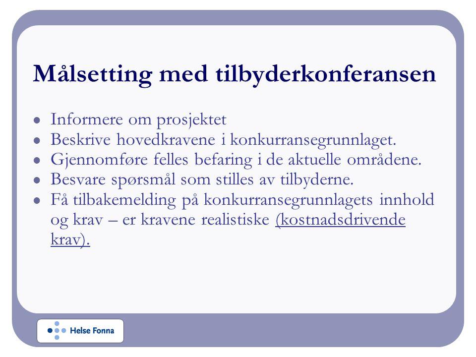 Praktisk informasjon Spørsmål noteres fortløpende og sendes pr e-post til Leif Terje Alvestad Alle spørsmål vil bli notert, besvart samt distribuert til alle tilbyderne (navn på spørsmålsstiller vil ikke bli angitt).