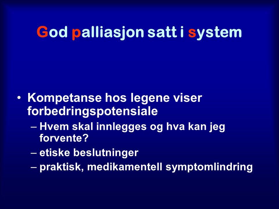 God palliasjon satt i system Kompetanse hos legene viser forbedringspotensiale –Hvem skal innlegges og hva kan jeg forvente.