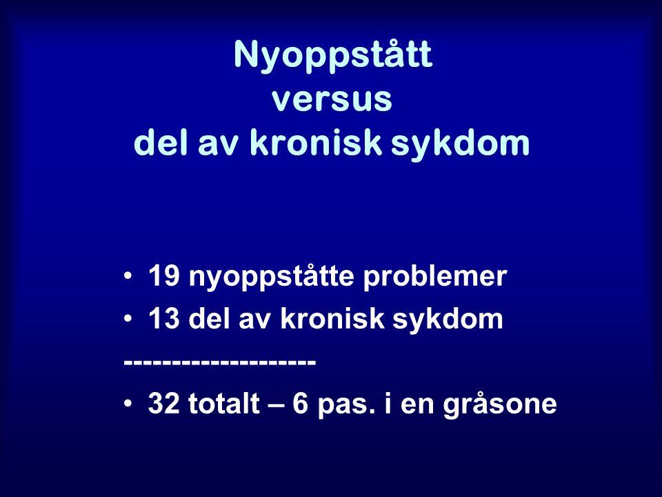 Nyoppstått versus del av kronisk sykdom 19 nyoppståtte problemer 13 del av kronisk sykdom -------------------- 32 totalt – 6 pas.