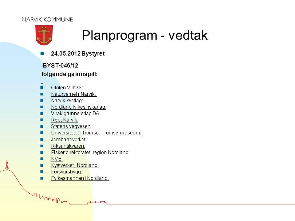 Planprogram - vedtak n 24.05.2012 Bystyret BYST-046/12 følgende ga innspill: n Ofoten Villfisk: n Naturvernet i Narvik: n Narvik kystlag: n Nordland f