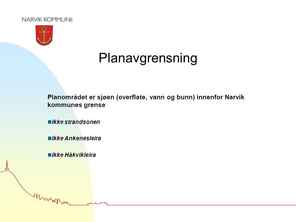 Planavgrensning Planområdet er sjøen (overflate, vann og bunn) innenfor Narvik kommunes grense nIkke strandsonen nIkke Ankenesleira nIkke Håkvikleira