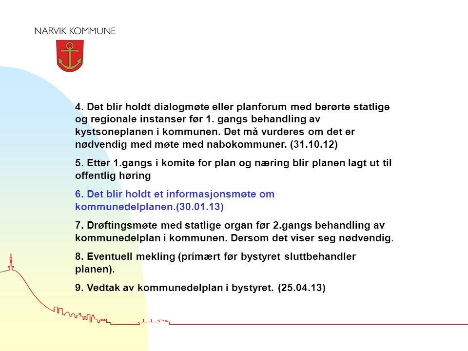 4. Det blir holdt dialogmøte eller planforum med berørte statlige og regionale instanser før 1.