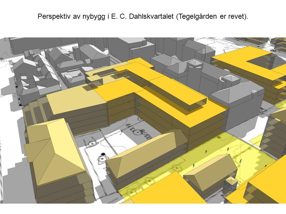 Perspektiv av nybygg i E. C. Dahlskvartalet (Tegelgården er revet).