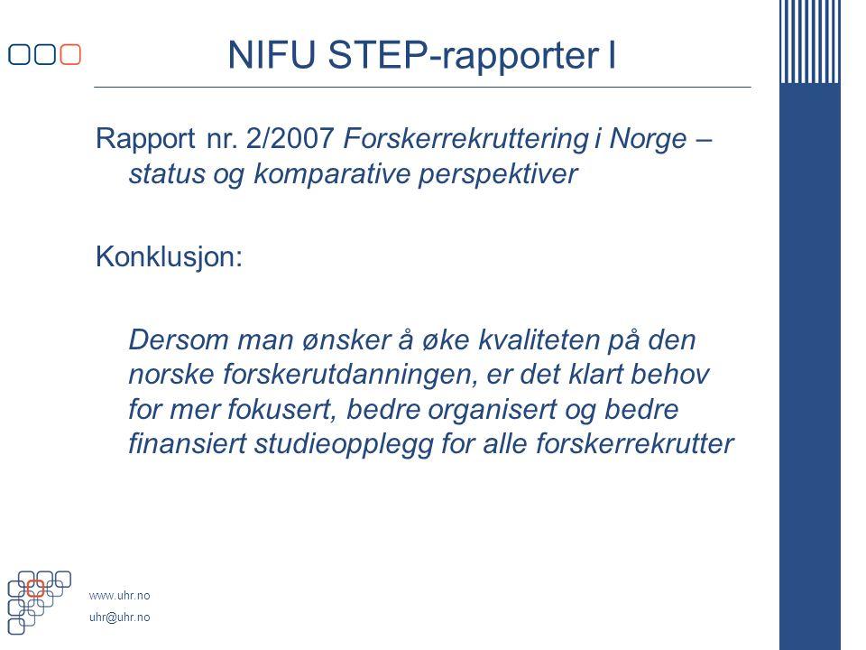 www.uhr.no uhr@uhr.no NIFU STEP-rapporter I Rapport nr.