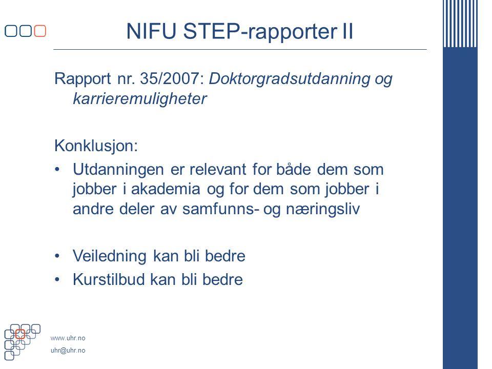 www.uhr.no uhr@uhr.no NIFU STEP-rapporter II Rapport nr.