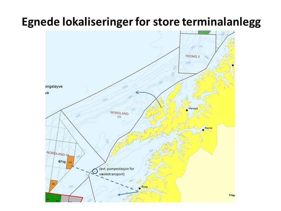Egnede lokaliseringer for store terminalanlegg