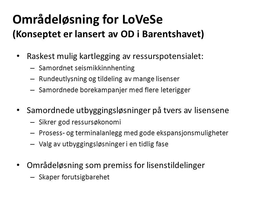 Områdeløsning for LoVeSe (Konseptet er lansert av OD i Barentshavet) Raskest mulig kartlegging av ressurspotensialet: – Samordnet seismikkinnhenting – Rundeutlysning og tildeling av mange lisenser – Samordnede borekampanjer med flere leterigger Samordnede utbyggingsløsninger på tvers av lisensene – Sikrer god ressursøkonomi – Prosess- og terminalanlegg med gode ekspansjonsmuligheter – Valg av utbyggingsløsninger i en tidlig fase Områdeløsning som premiss for lisenstildelinger – Skaper forutsigbarehet