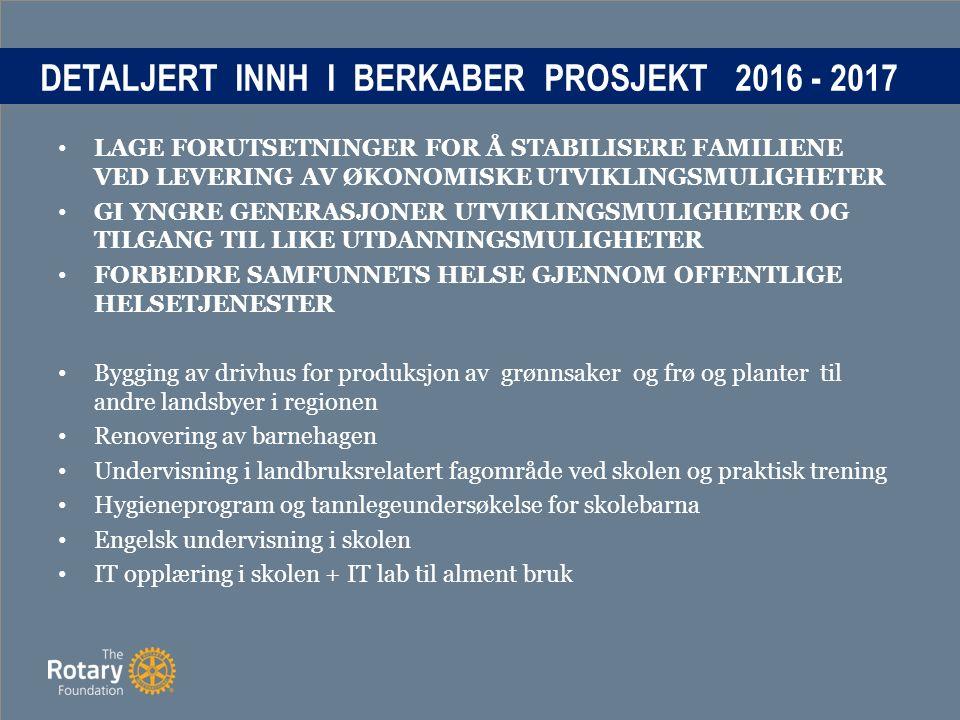 DETALJERT INNH I BERKABER PROSJEKT 2016 - 2017 LAGE FORUTSETNINGER FOR Å STABILISERE FAMILIENE VED LEVERING AV ØKONOMISKE UTVIKLINGSMULIGHETER GI YNGRE GENERASJONER UTVIKLINGSMULIGHETER OG TILGANG TIL LIKE UTDANNINGSMULIGHETER FORBEDRE SAMFUNNETS HELSE GJENNOM OFFENTLIGE HELSETJENESTER Bygging av drivhus for produksjon av grønnsaker og frø og planter til andre landsbyer i regionen Renovering av barnehagen Undervisning i landbruksrelatert fagområde ved skolen og praktisk trening Hygieneprogram og tannlegeundersøkelse for skolebarna Engelsk undervisning i skolen IT opplæring i skolen + IT lab til alment bruk