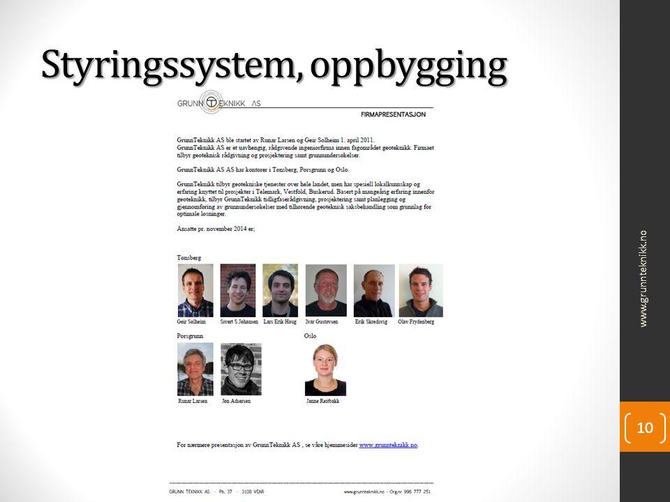 Styringssystem, oppbygging www.grunnteknikk.no 10