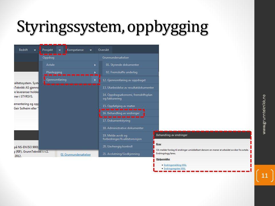 Styringssystem, oppbygging www.grunnteknikk.no 11