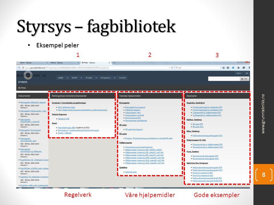 www.grunnteknikk.no 8 Styrsys – fagbibliotek Eksempel peler Eksempel peler Regelverk Våre hjelpemidlerGode eksempler 12 3
