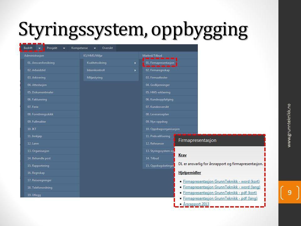 Styringssystem, oppbygging www.grunnteknikk.no 9