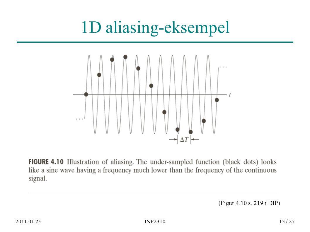 2011.01.25INF231013 / 27 1D aliasing-eksempel (Figur 4.10 s. 219 i DIP)