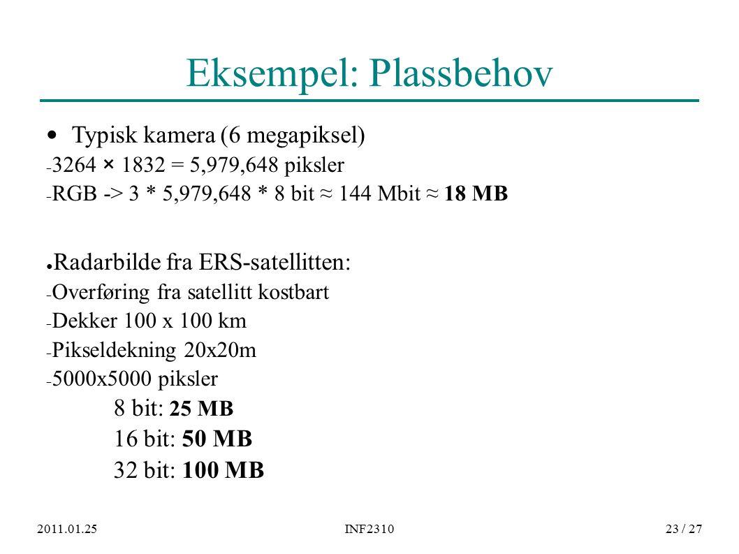 2011.01.25INF231023 / 27 Eksempel: Plassbehov Typisk kamera (6 megapiksel) − 3264 × 1832 = 5,979,648 piksler − RGB -> 3 * 5,979,648 * 8 bit ≈ 144 Mbit ≈ 18 MB ● Radarbilde fra ERS-satellitten: − Overføring fra satellitt kostbart − Dekker 100 x 100 km − Pikseldekning 20x20m − 5000x5000 piksler 8 bit: 25 MB 16 bit: 50 MB 32 bit: 100 MB
