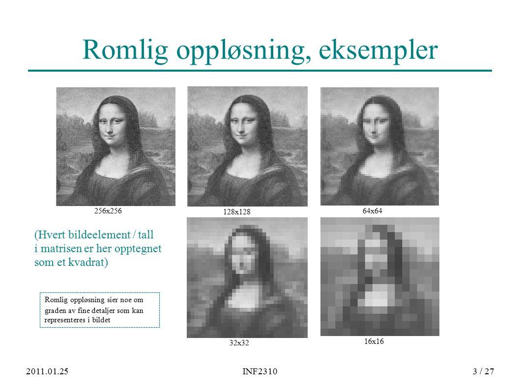 2011.01.25INF23103 / 27 Romlig oppløsning, eksempler Romlig oppløsning sier noe om graden av fine detaljer som kan representeres i bildet (Hvert bildeelement / tall i matrisen er her opptegnet som et kvadrat) 128x128 256x25664x64 32x32 16x16