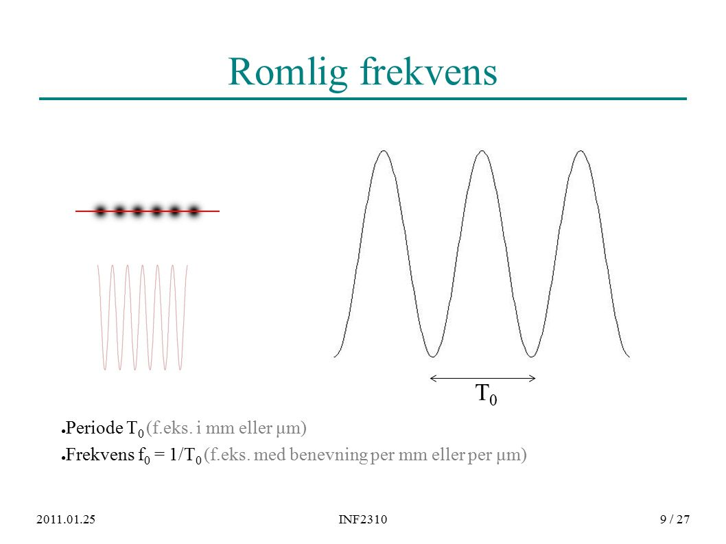 2011.01.25INF23109 / 27 Romlig frekvens ● Periode T 0 (f.eks. i mm eller μm) ● Frekvens f 0 = 1/T 0 (f.eks. med benevning per mm eller per μm) T0T0