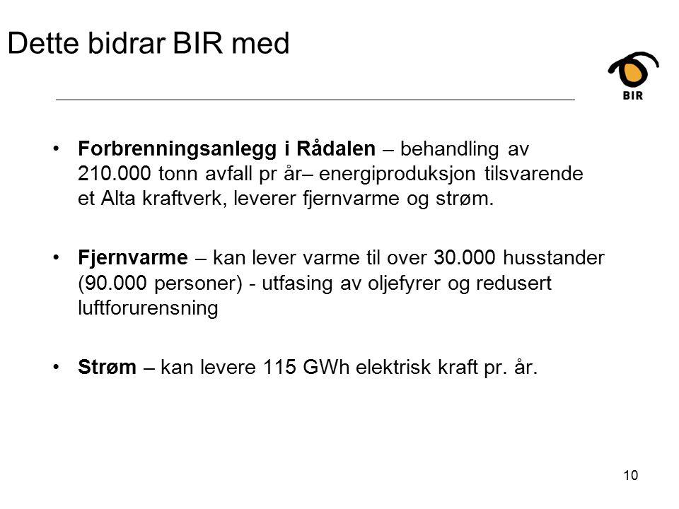 10 Dette bidrar BIR med Forbrenningsanlegg i Rådalen – behandling av 210.000 tonn avfall pr år– energiproduksjon tilsvarende et Alta kraftverk, leverer fjernvarme og strøm.