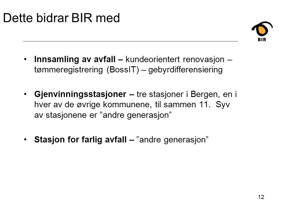 12 Dette bidrar BIR med Innsamling av avfall – kundeorientert renovasjon – tømmeregistrering (BossIT) – gebyrdifferensiering Gjenvinningsstasjoner – tre stasjoner i Bergen, en i hver av de øvrige kommunene, til sammen 11.
