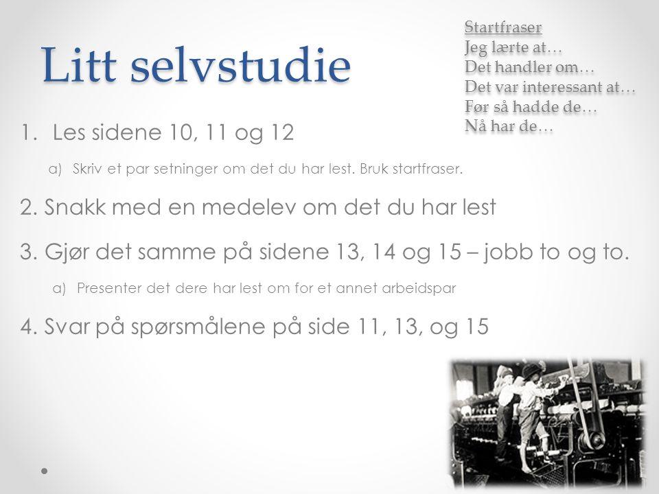 Litt selvstudie 1.Les sidene 10, 11 og 12 a)Skriv et par setninger om det du har lest.
