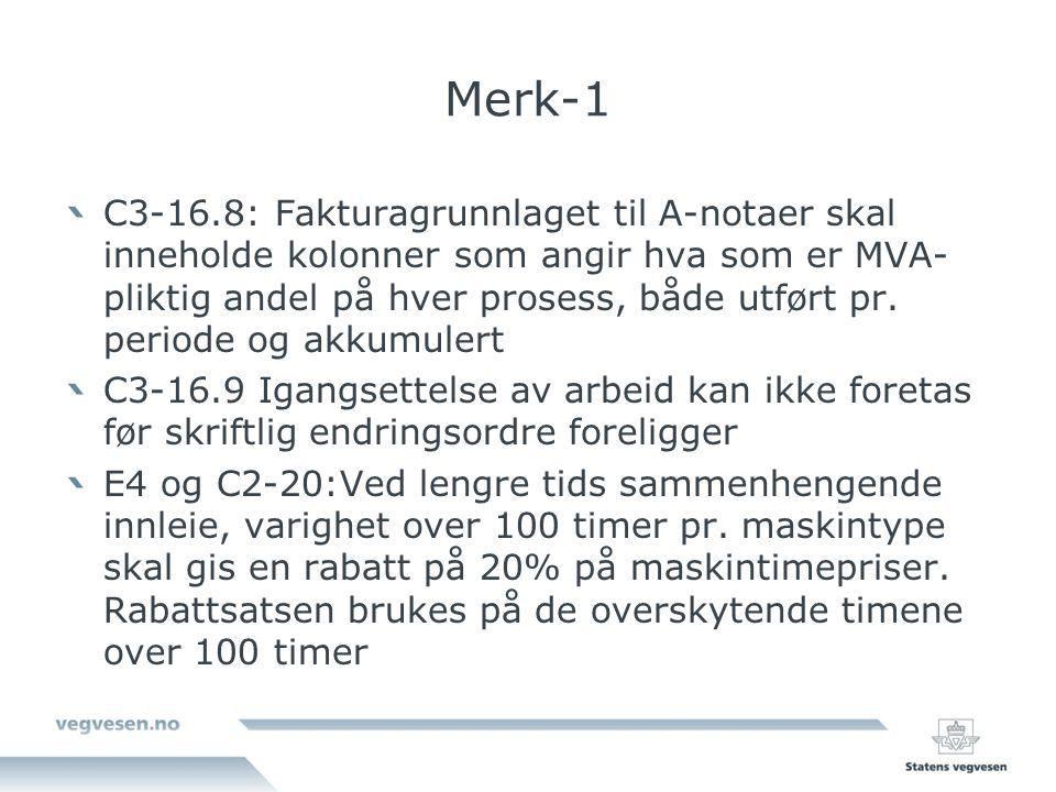 Merk-1 C3-16.8: Fakturagrunnlaget til A-notaer skal inneholde kolonner som angir hva som er MVA- pliktig andel på hver prosess, både utført pr.