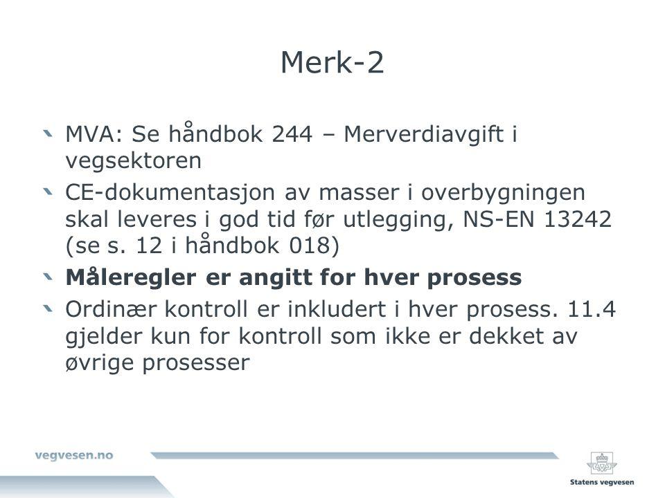Merk-2 MVA: Se håndbok 244 – Merverdiavgift i vegsektoren CE-dokumentasjon av masser i overbygningen skal leveres i god tid før utlegging, NS-EN 13242 (se s.