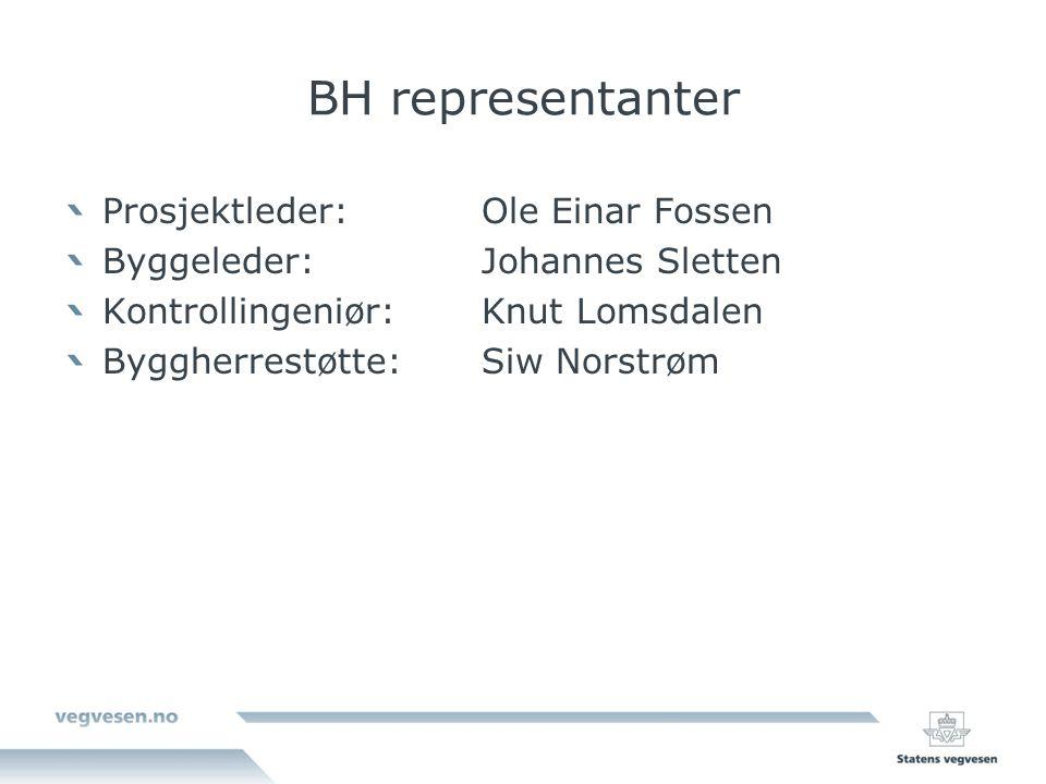 BH representanter Prosjektleder: Ole Einar Fossen Byggeleder:Johannes Sletten Kontrollingeniør: Knut Lomsdalen Byggherrestøtte:Siw Norstrøm
