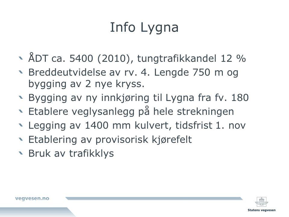 Info Lygna ÅDT ca. 5400 (2010), tungtrafikkandel 12 % Breddeutvidelse av rv.