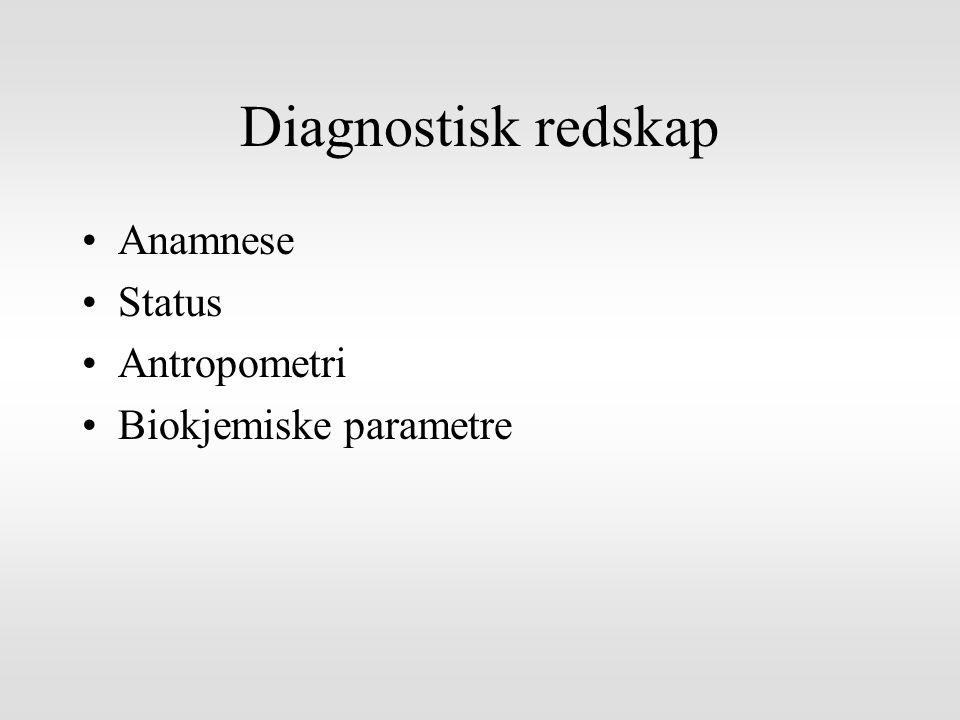 Diagnostisk redskap Anamnese Status Antropometri Biokjemiske parametre