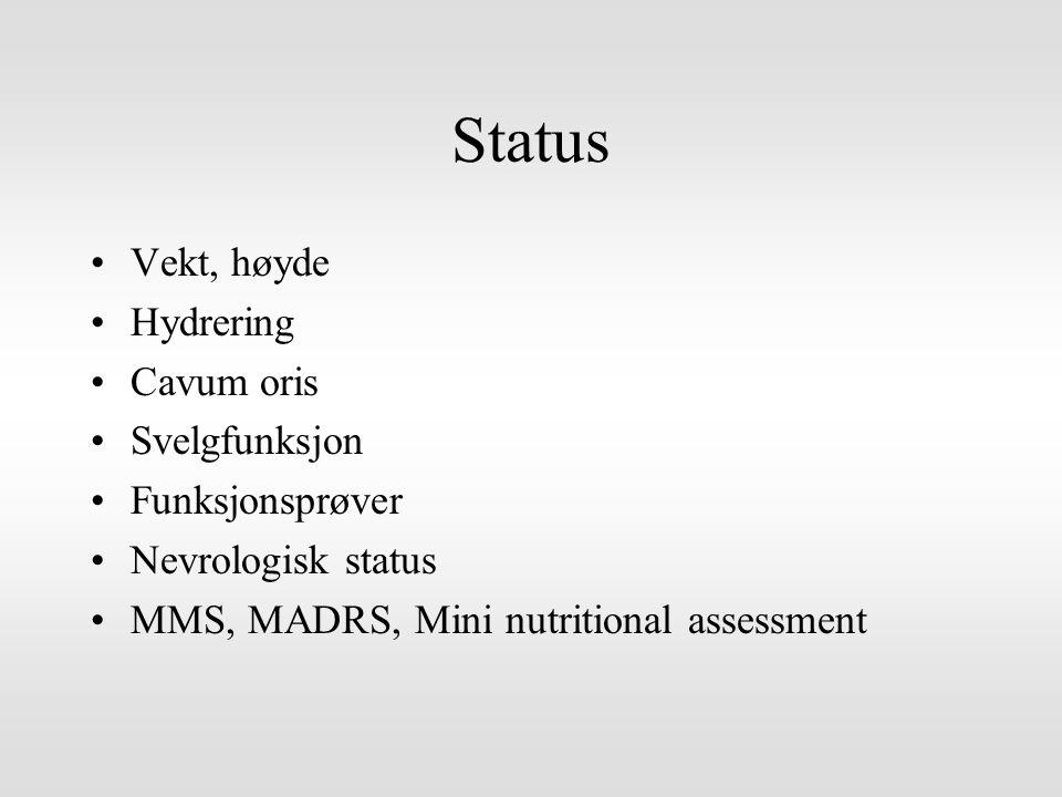 Status Vekt, høyde Hydrering Cavum oris Svelgfunksjon Funksjonsprøver Nevrologisk status MMS, MADRS, Mini nutritional assessment