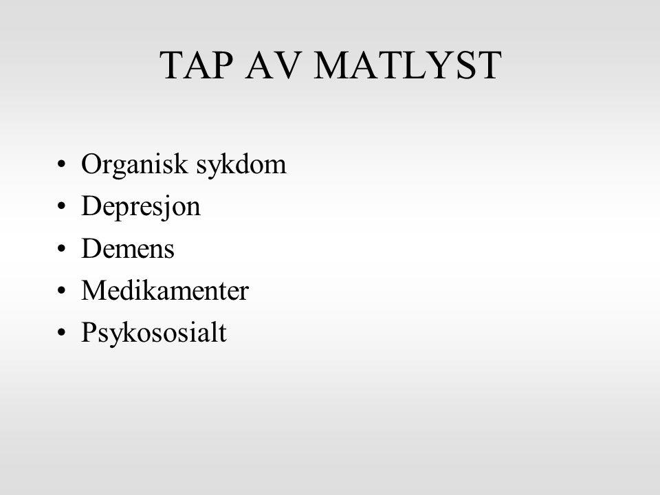 TAP AV MATLYST Organisk sykdom Depresjon Demens Medikamenter Psykososialt